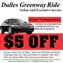 Dulles ride taxi coupon $5 off